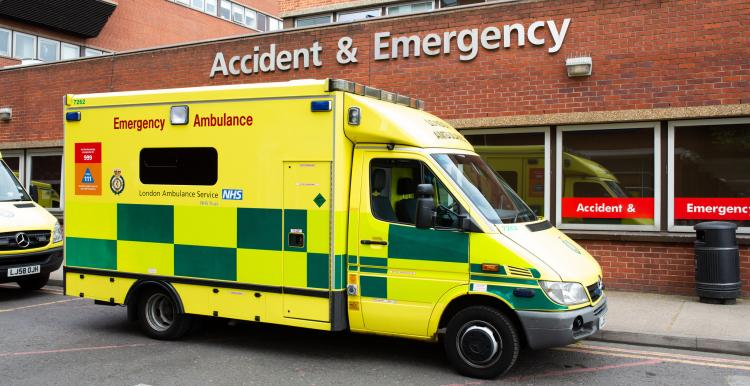 An ambulance outside an accident and emergency department