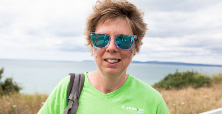 Woman wearing sunglasses at the beach