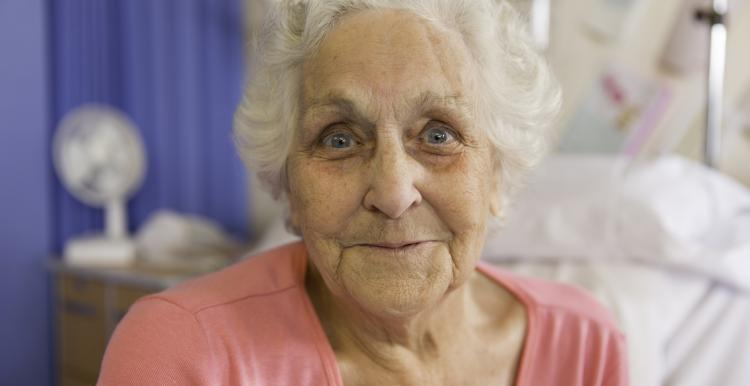 Picture of an elderly woman in a hospital bed