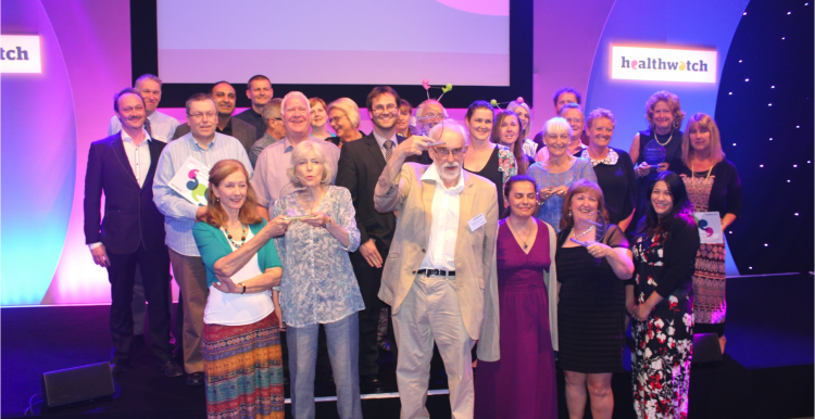 group picture of awards winners at healthwatch conference
