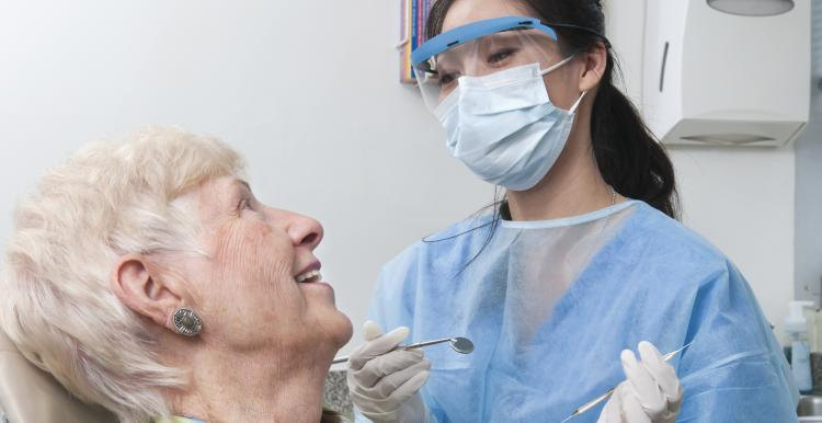 Lady having dental treatment