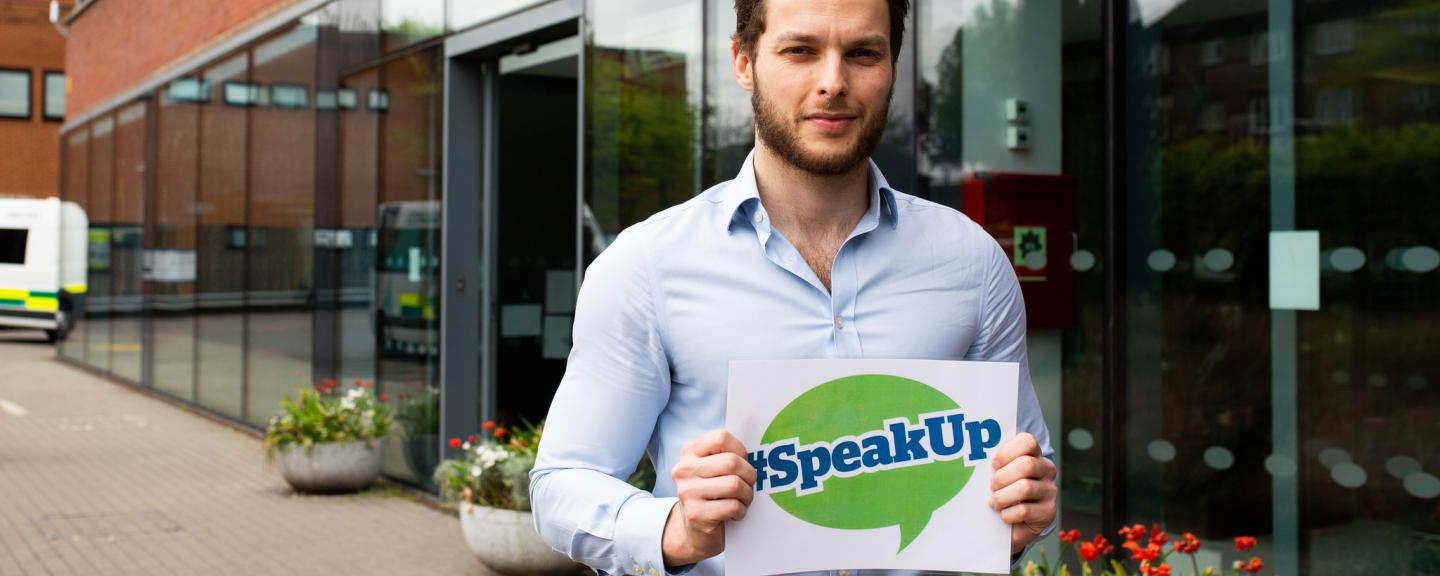Healthwatch staff member encouraging people to speak up about their views