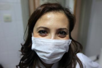 social worker in a mask