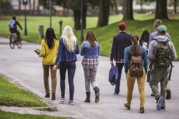 Picture of teenagers walking in a park