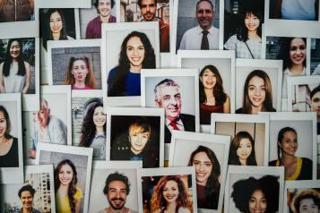 Polaroid photos of people
