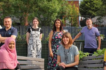Healthwatch Leeds team stood two meters apart from each other