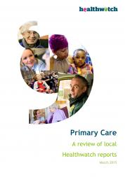 Primary Care Report Front Cover showing a big speech mark in which there 5 images: a lady nurse, a mother with her son, a girl on a wheelchair, an ambulance driver and a nurse speaking to an elderly woman