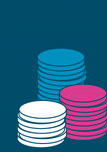 Graphic with stacks of money