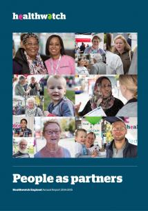 Healthwatch Annual Report 2014-15 Front Cover showing various images of different people