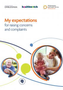 My expectations for raising concerns and complaints report front cover with two enlarged speech marks one with the picture of an elderly man and one with the picture of a mother with her baby daughter